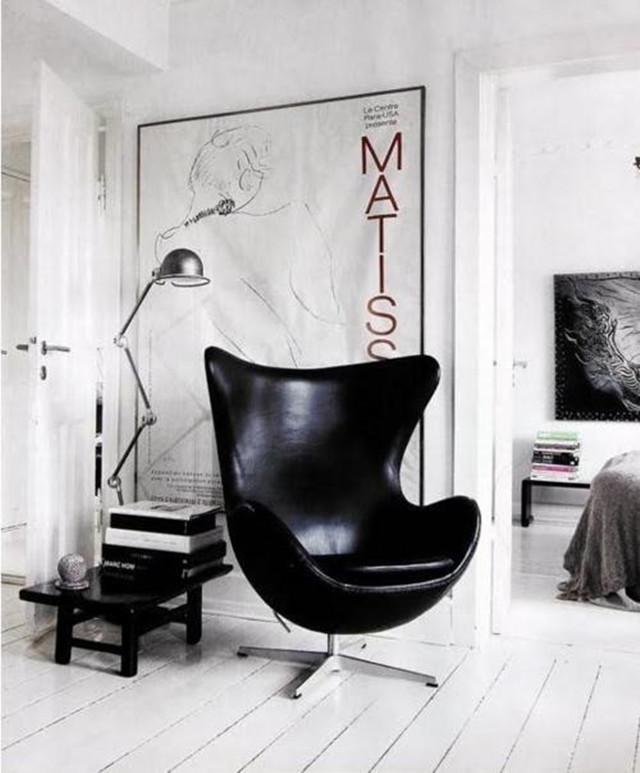 Black leather egg chair