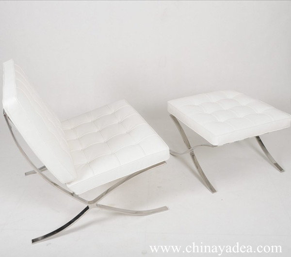White Barcelona chair and stool