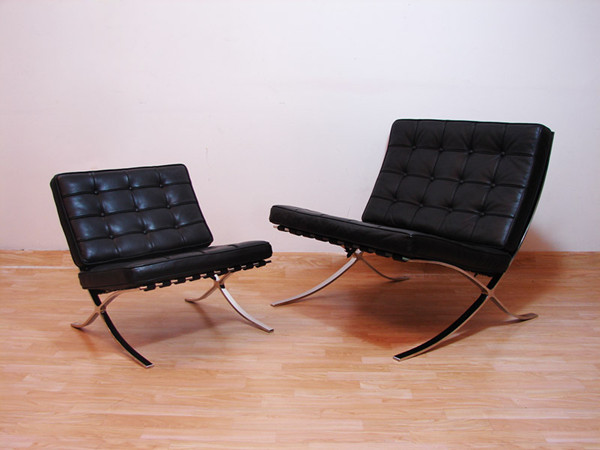barcelona chair and ottoman by mies van der rohe