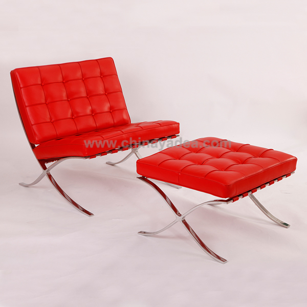 Red leather Barcelona chair