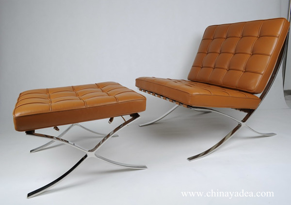 Mies van der Rohe Barcelona Chair in Light Brown Leather