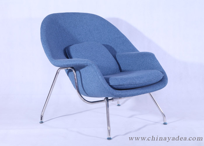 blue womb chair