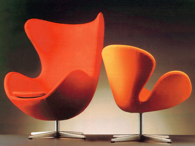 swan chair and egg chair