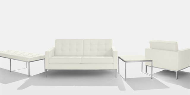 Florence Knoll 2 Seater Sofa In White Leather