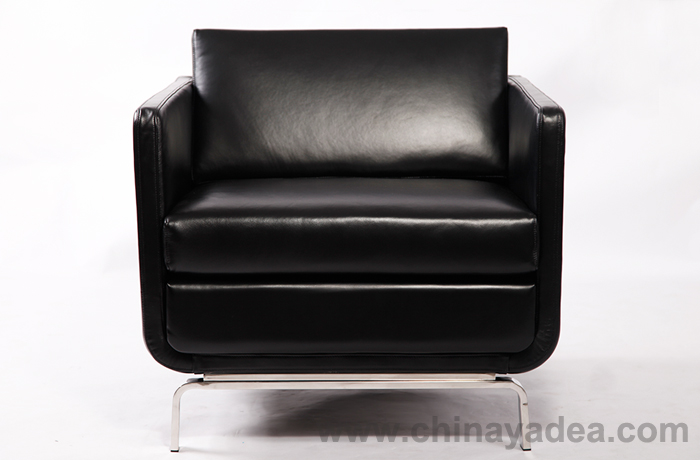 Gaia High-arm Lounge Chair in Black Leather