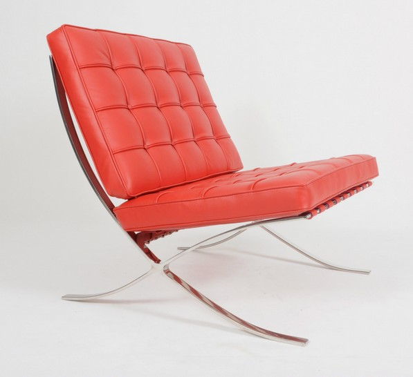 Knoll Barcelona Chair in red leather