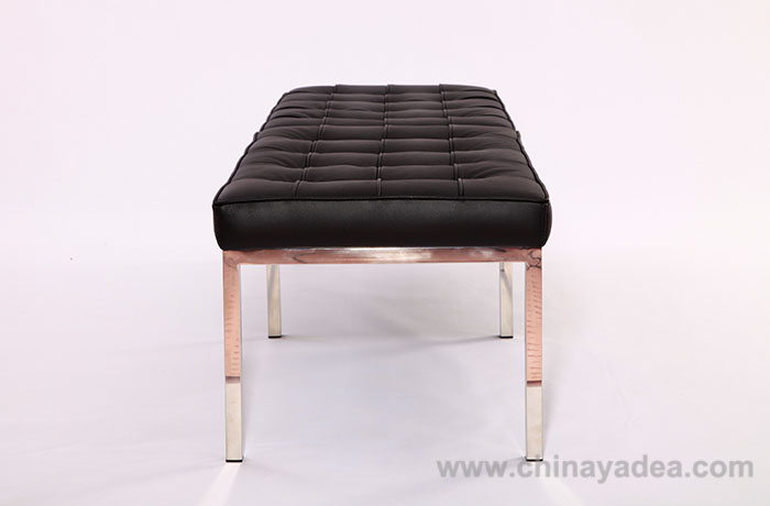 Black Leather Knoll Bench 3 Seater