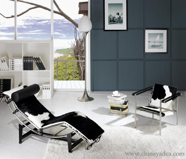 le corbusier chaise lounge lc4 chaise lounge chair black leather lc4. Black Bedroom Furniture Sets. Home Design Ideas