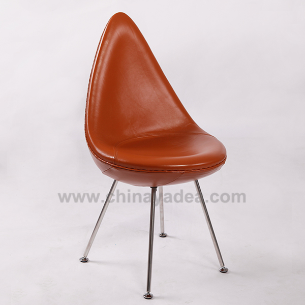 Drop Chair in Brown Leather