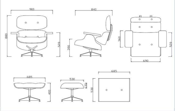 Eames Lounge Chair size