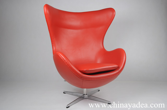 Red Leather Arne Jacobsen Egg Chair