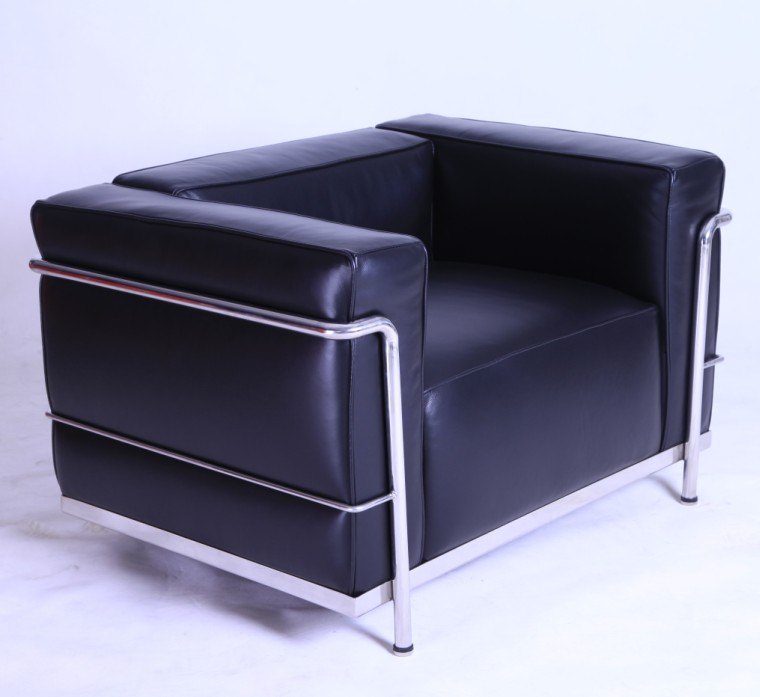 The Le Corbusier Style LC3 Armchair in Genuine Black Leather