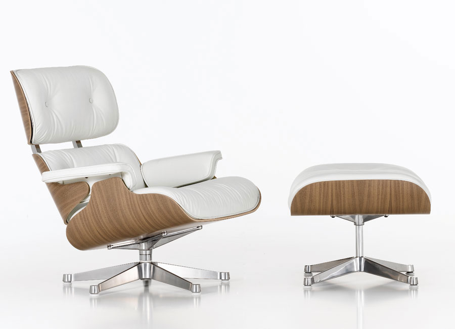 Vitra Eames Lounge Chair & Ottoman in White Leather