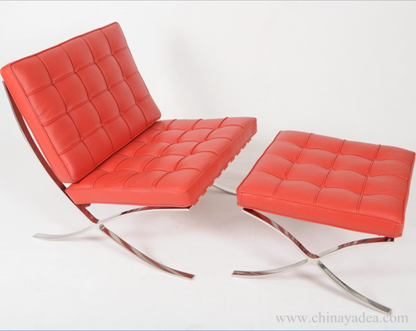 Mies van der Rohe Barcelona Chair in Red Leather