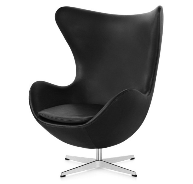egg chair in aniline leather