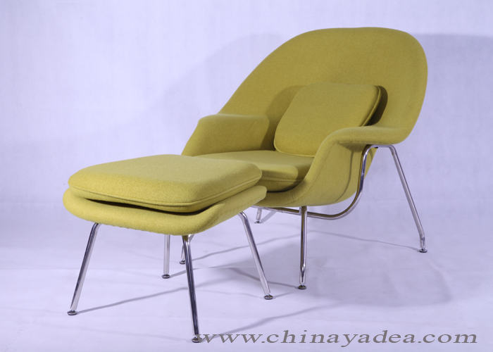 lemon green womb chair with ottoman