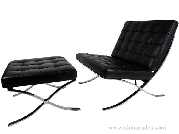 nice looking Barcelona chair- Black Leather