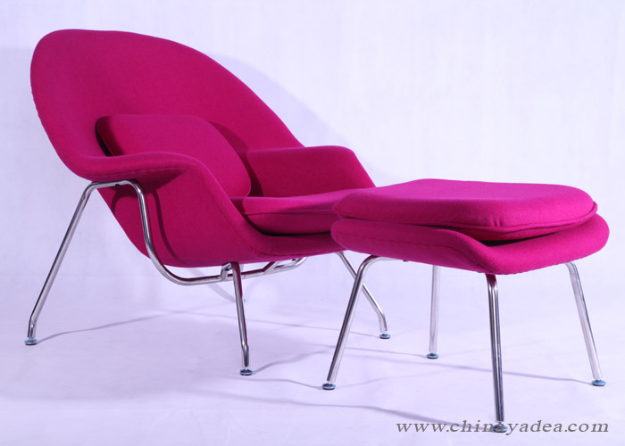 scarlet womb chair with ottoman