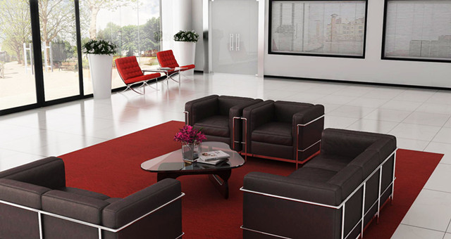 waiting eara furniture with le corbusier sofa and barcelona chair