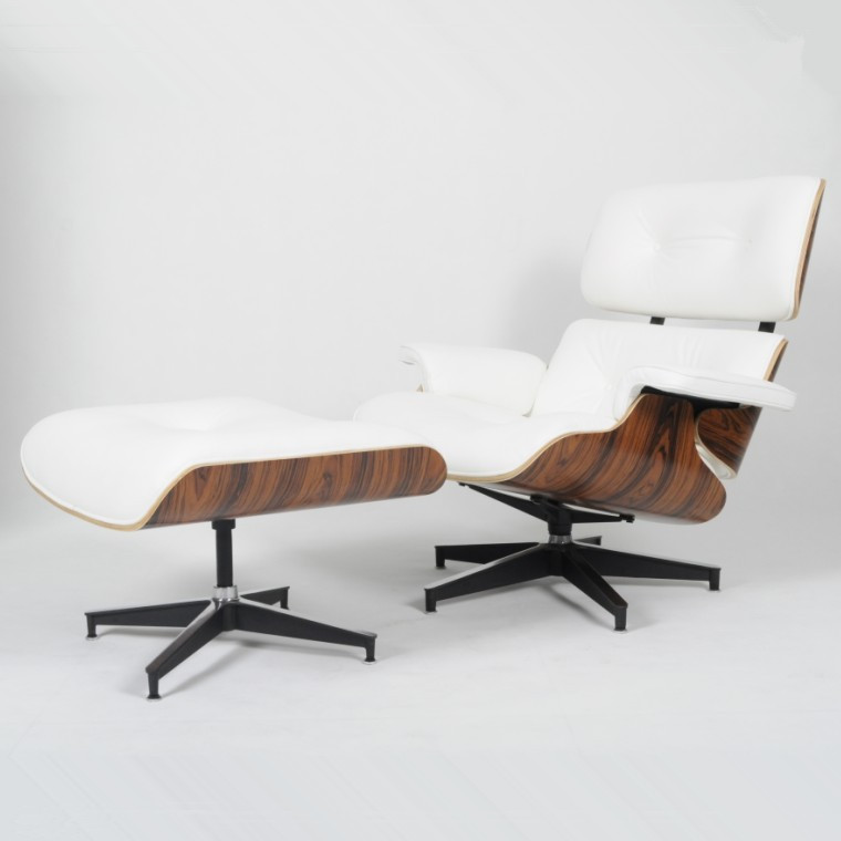 Eames Lounge Chair Ottoman White Leather Palisander