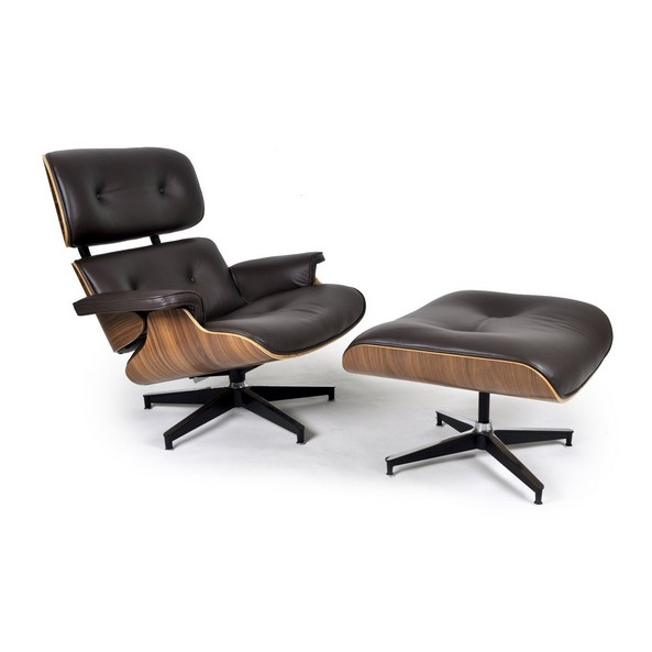 Herman Miller Eames Lounge Chair Replica   Walnut   Choco Brown Aniline  Leather