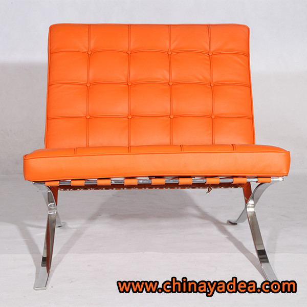 center chairs armchairs barcelona chair replica orange leather cf004