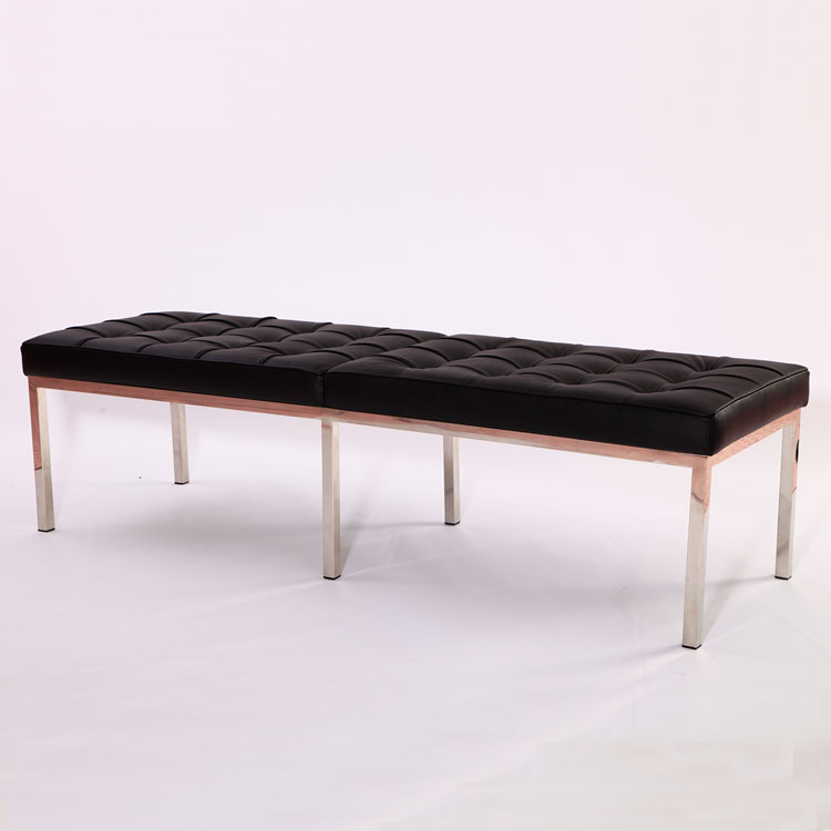 Florence Knoll Bench 3 Seater Black Genuine Leather Cf605