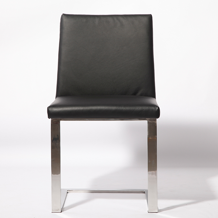 Leather dining chair armless chair stainless steel chair for Leather and steel dining chairs