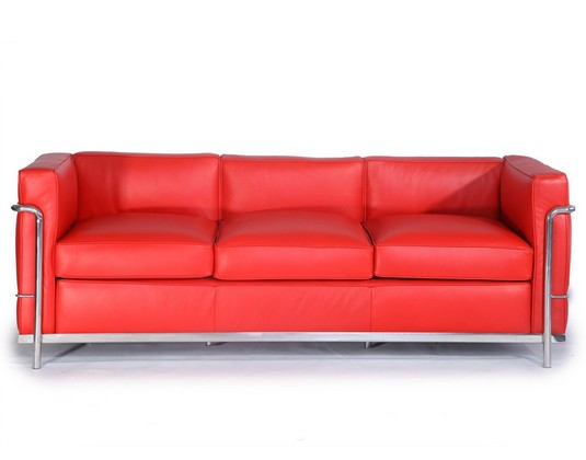 le corbusier lc2 sofa 3 seater-Red Leather CF009-3