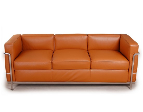 Le Corbusier LC2 Sofa 3 Seater - Light Brown Leather CF009-3