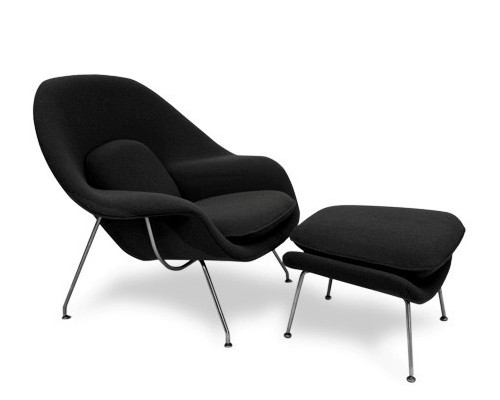 Saarinen Womb Chair & Ottoman in Black Cashmere Wool CF078