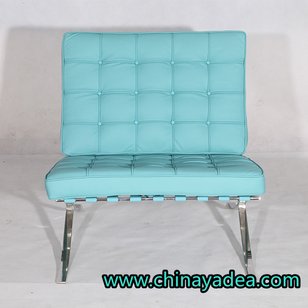 Barcelona style chair reproduction blue leather