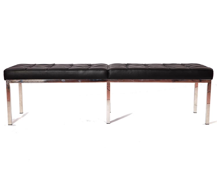 Florence Knoll Bench 3 Seater, Black Genuine Leather CF605-3