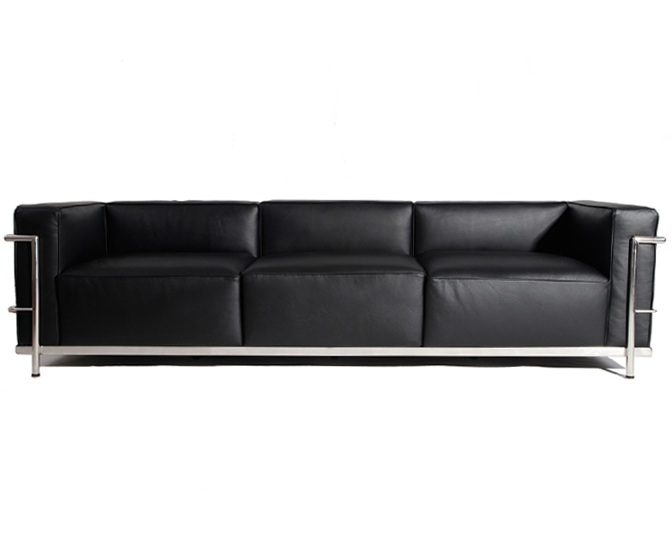 Le Corbusier LC3 3 Seater Sofa - Black leather CF302-3