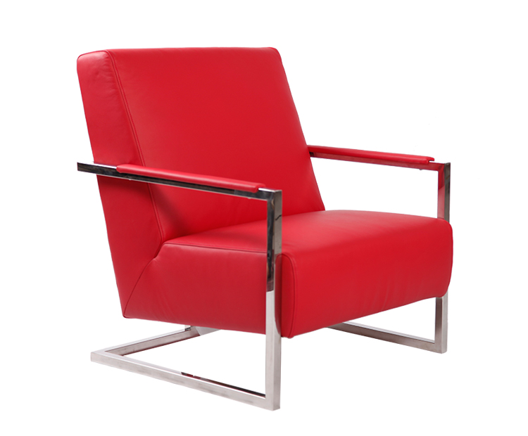 Modern Leather Armchair with Stainless Steel Frame KC033