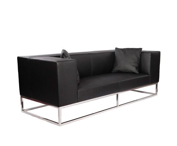 Modern Leather Sofa with Stainless Steel Frame KS014
