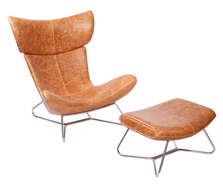 Design Furniture Imola Chair by Henrik Pedersen in Brown Aniline Leather DC014-1-D