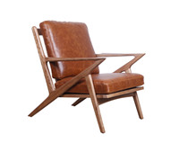 Mid Century Wooden Leather Z Lounge Chair DC005