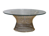 Warren Platner Tempered Glass Stainless Steel Coffee Table CF914