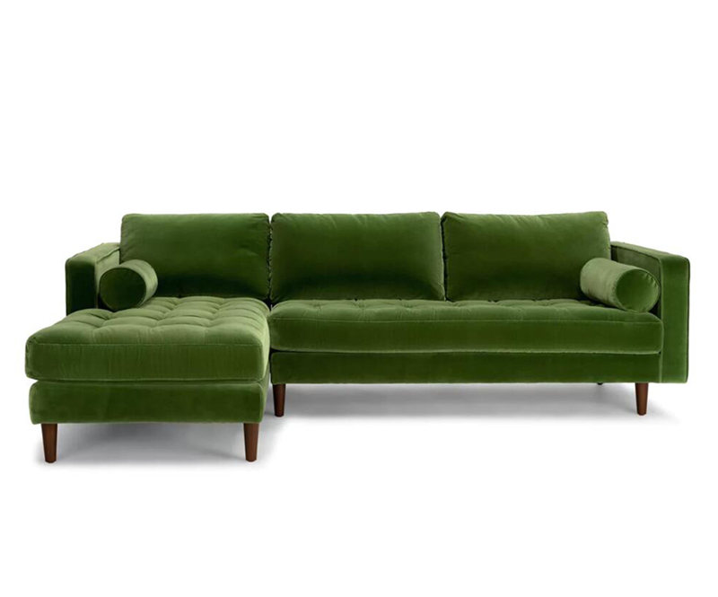 Sven Green Fabric Left Sectional Sofa KS052