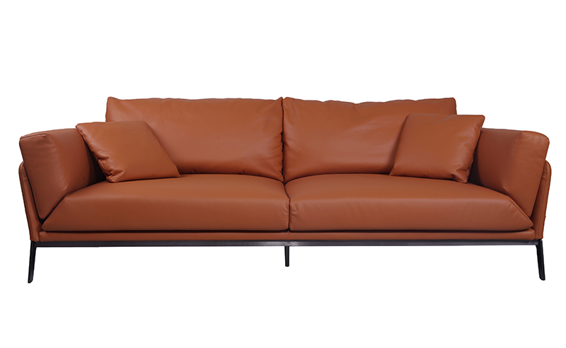 Modern Brown Leather Sofa KS075-3